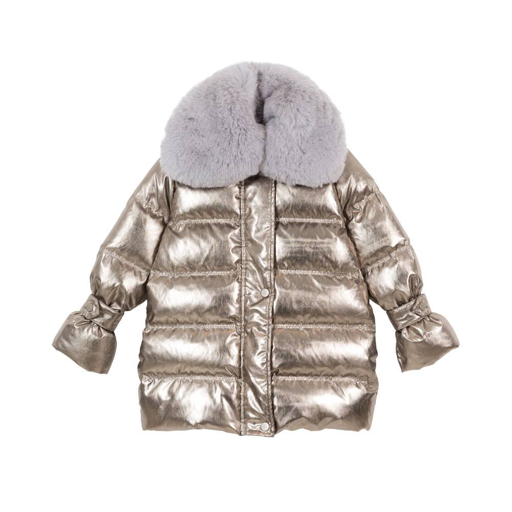 Thalia Puffer Coat Metallic Gold