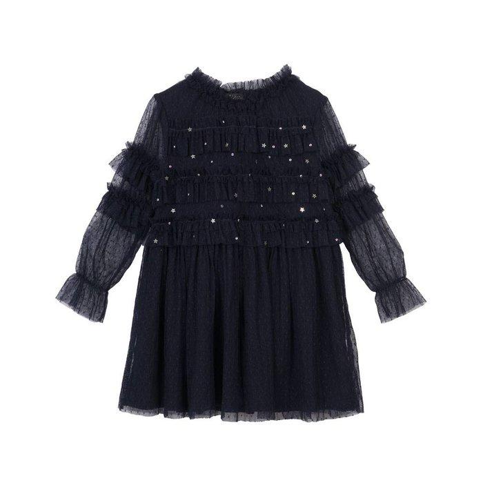 Luna Smocked Frill Dress Blackcurrent Mesh
