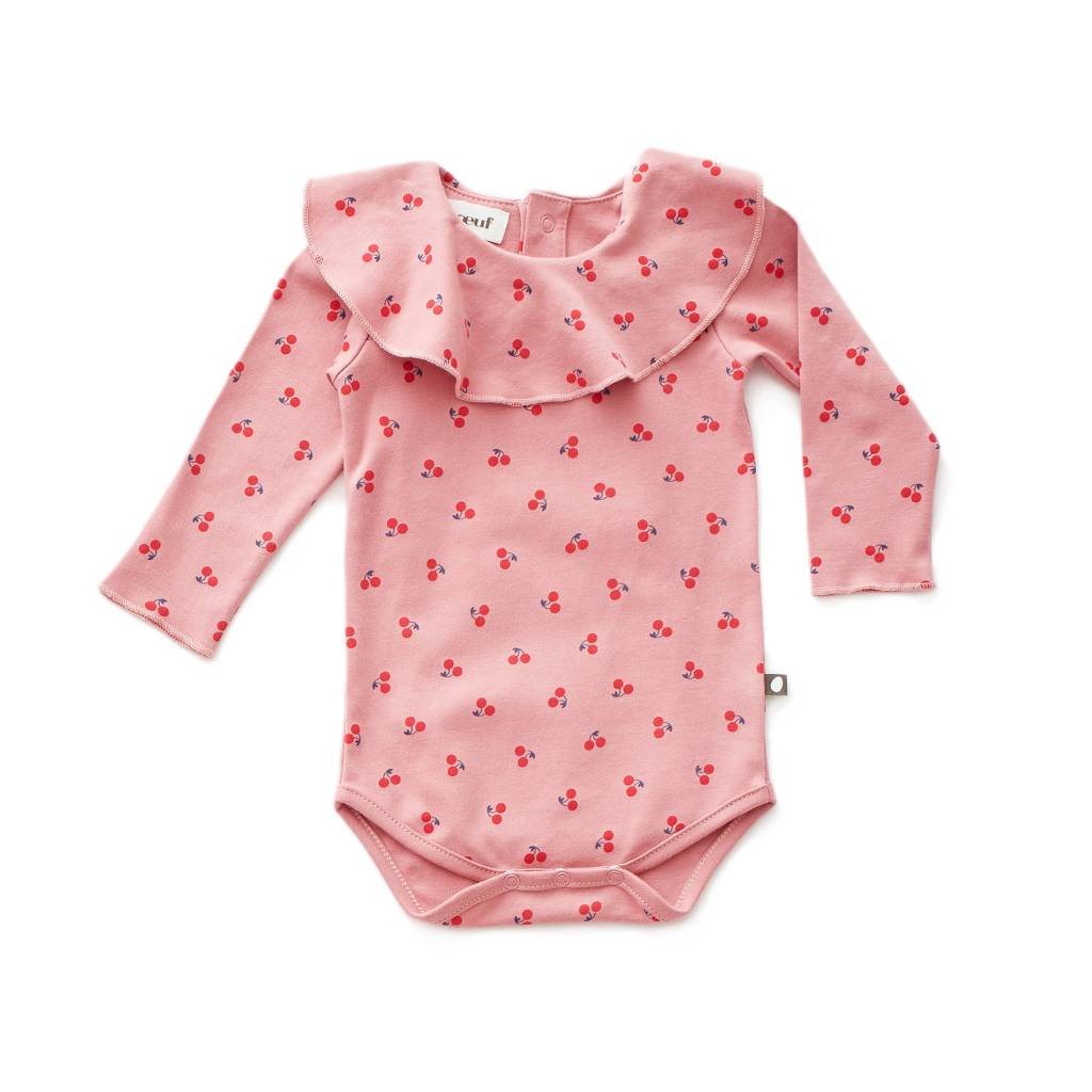 Ruffle Collar Onesie Dark Pink/cherries