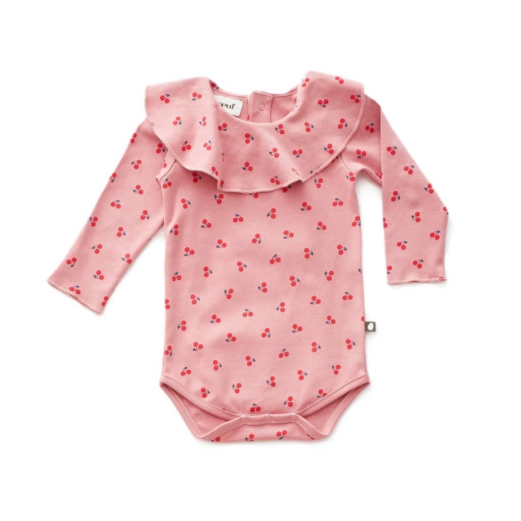 Ruffle Collar Onesie Dark Pink/cherries