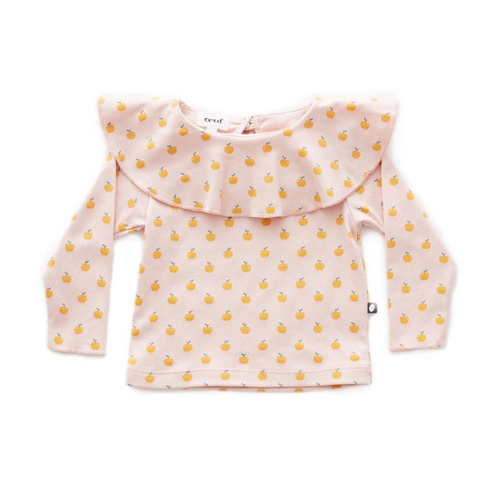 Ruffle Collar Tee Light Pink/Apples