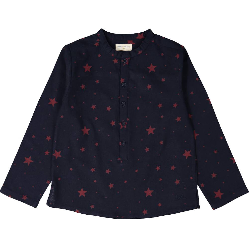 Grand Pere Shirt Twill Stars Navy