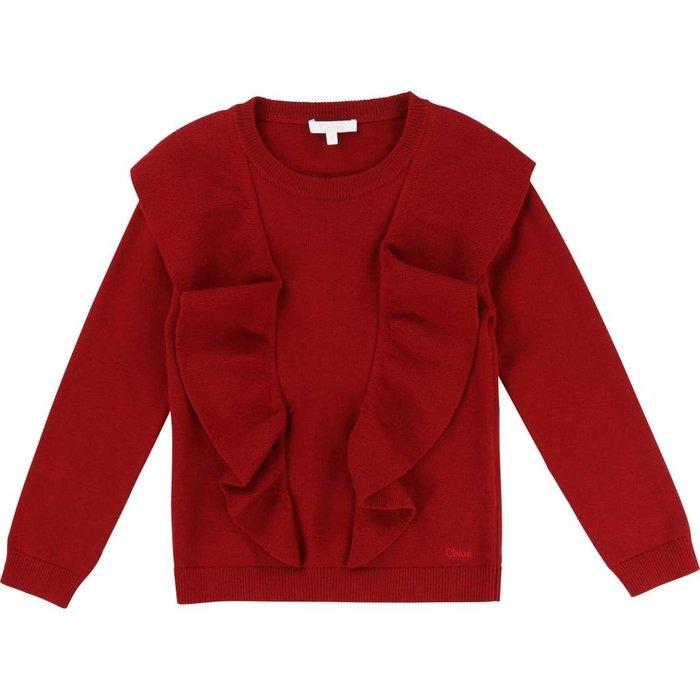 Sweater W/Large Milano Ruffles Grenade