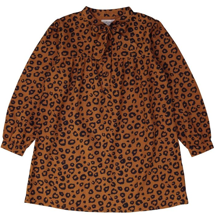 Gina Dress Twill Leopard Cognac