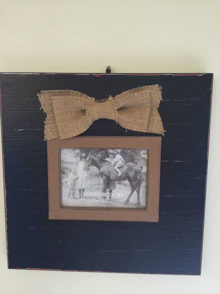 frame with burlap bow - Sister Kate\'s