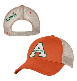 "CHAMPION CUSTOM PRODUCTS ORANGE MESH BACK ""A"" COLORADO STATE HAT"