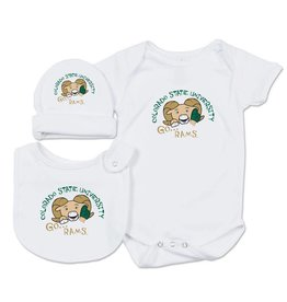 COLLEGE KIDS GO RAMS BABY SET- INCLUDES BODYSUIT, CAP AND BIB