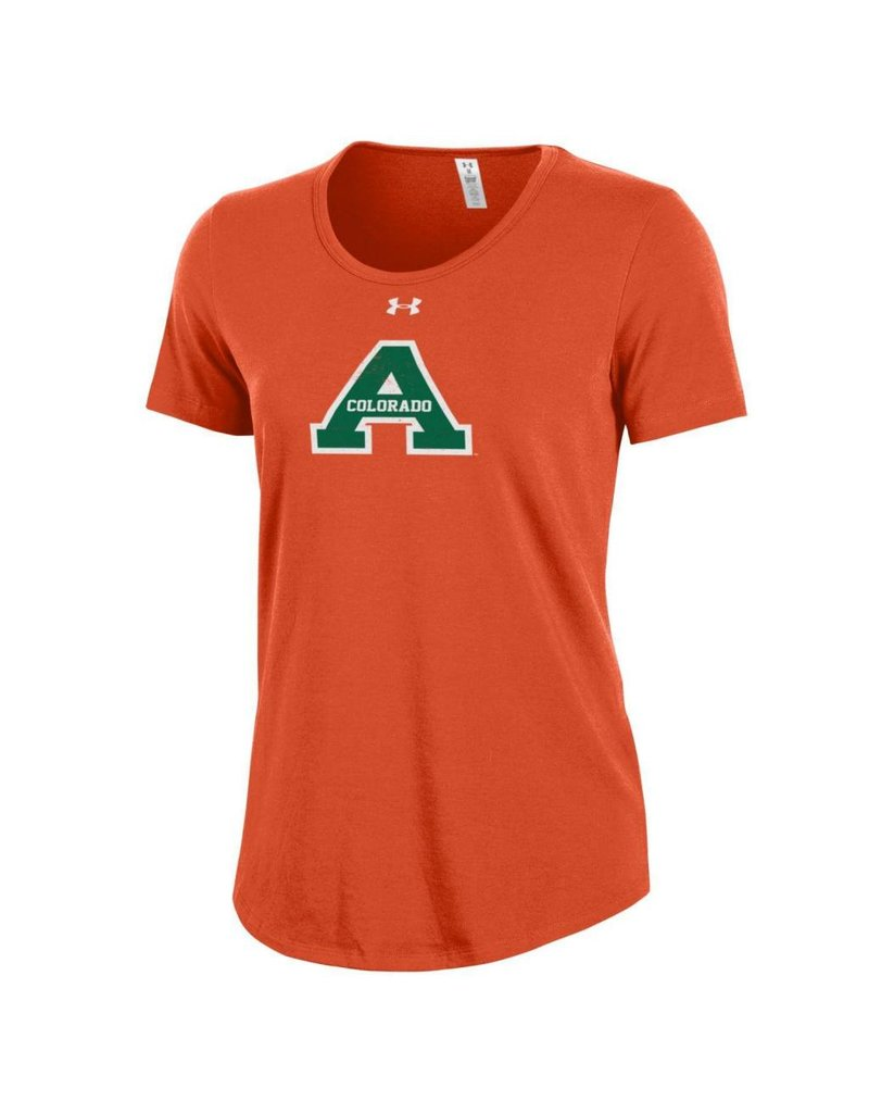 "UNDER ARMOUR UA LADIES ""A"" ORANGE OUT CHARGED COTTON TEE"