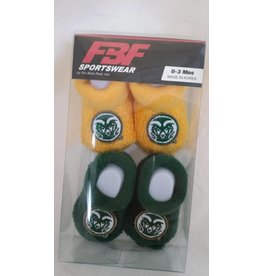 FOR BARE FEET BABY BOOTIES - 2 PK CSU RAM LOGO