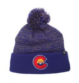 ZEPHYR COLORADO USA RETREAT POM BEANIE- ROYAL/GREY KNIT