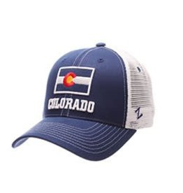 ZEPHYR COLORADO USA STAMP COLO FLAG HAT- RYL/WHITE MESH