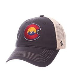ZEPHYR COLORADO USA UNIVERSITY C W/MOUNTAINS HAT- NAVY/MESH ADJ