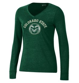 GEAR FOR SPORTS WMNS COLO STATE RAM LOGO TRIBLEND V-NECK LS TEE