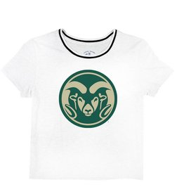 LEGACY ATHLETIC APPAREL LADIES RAM LOGO TRI-FLEX RETRO RINGER TEE