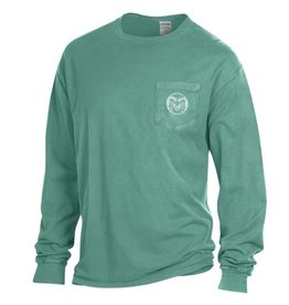 GEAR FOR SPORTS RAM LOGO LC W/FULL BACK COMFORT WASH LS TEE- CYPRESS