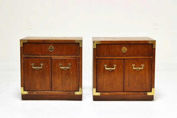 PAIR OF DREXEL CAMPAIGN NIGHTSTANDS WITH BRASS HARDWARE