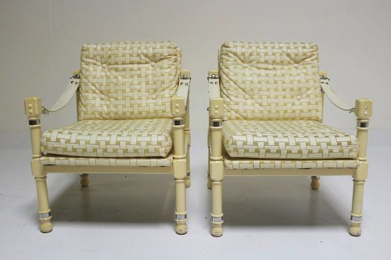 PAIR OF ARM CHAIRS WITH LEATHER STRAPS
