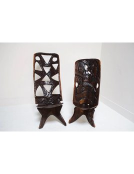 PAIR OF CARVED AFRICAN CHAIRS
