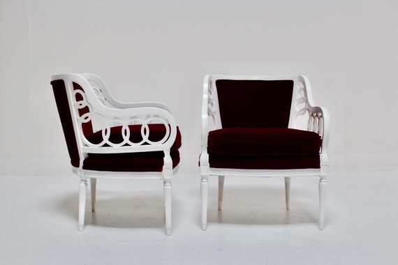 PAIR OF VELVET LOOP CHAIRS