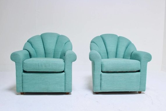 PAIR OF SEA GREEN SWIVEL CHAIRS
