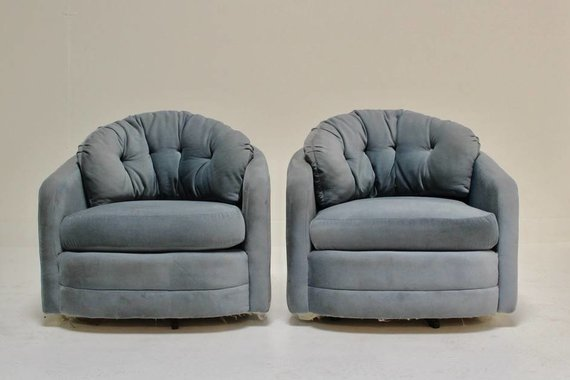 PAIR OF SWIVELS WITH LOOSE BACK CUSHIONS