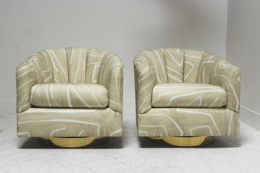 Pair Of Kelly Wearstler Graffito Swivels With Brass Bases
