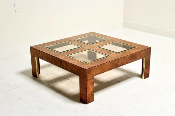 BURL AND GLASS COFFEE TABLE