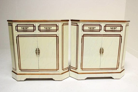 PAIR OF SIDE CABINETS WITH FRETWORK HARDWARE