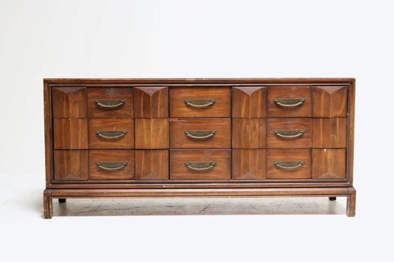 ARCHITECTURAL DRESSER WITH BRASS HARDWARE