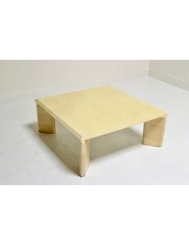GOATSKIN COFFEE TABLE WITH BRASS DETAIL