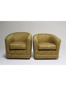 PAIR OF BEIGE SWIVELS WITH FLORAL MOTIF