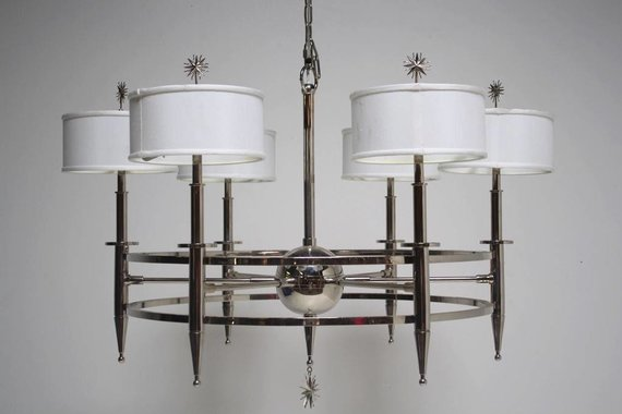 OVERSIZED CHROME CHANDELIER WITH STARBURST ACCENTS