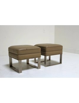 PAIR OF MINI LEATHER OTTOMANS