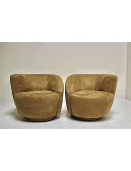 PAIR OF SUEDE SWIVELS IN THE STYLE OF KAGAN