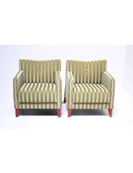 PAIR OF STRIPED ARM CHAIRS