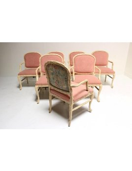 SET OF 8 FAUX BOIS CHAIRS