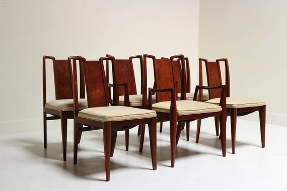 SET OF SIX MIDCENTURY BURL CHAIRS