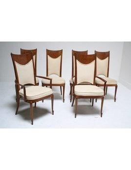 SET OF 6 BURL DINING CHAIRS