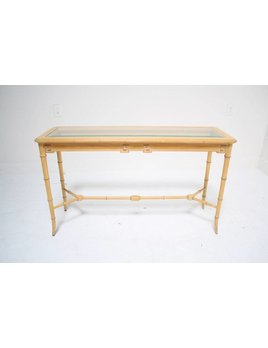 FAUX BAMBOO AND GREEK KEY CONSOLE TABLE
