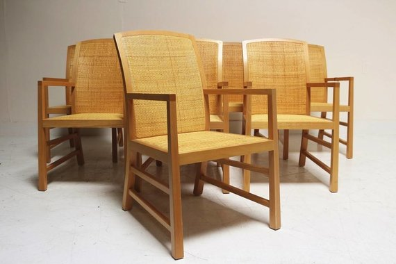 SET OF 8 MCGUIRE CHAIRS
