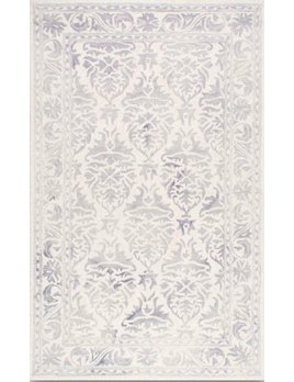 DAMASK PRINT RUG IN LIGHT GREY