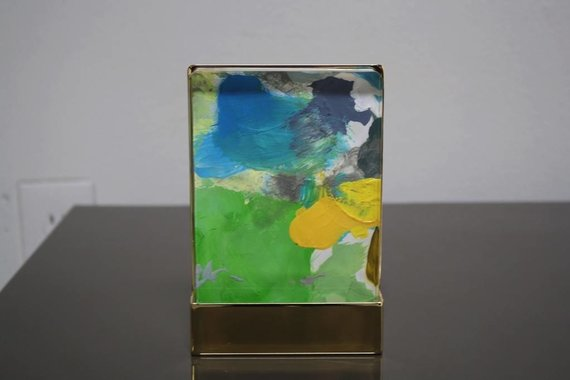 JUU ARTWORK IN ACRYLIC AND BRASS BLOCK BY LINDSEY MEYER