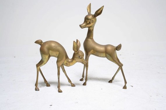 PAIR OF BRASS DEER BABIES