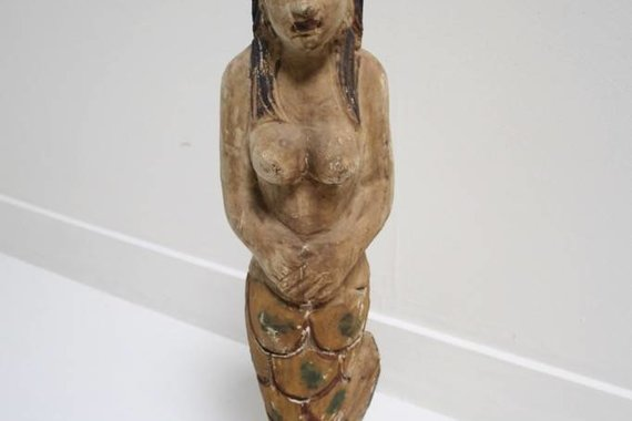 CARVED WOOD MERMAID STATUE