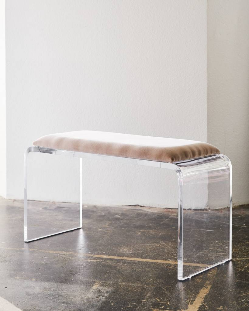 Allane waterfall bench in mink velvet scout design studio for Waterfall seat design