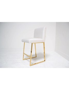 LINDEN BAR STOOL IN IVORY TWEED BRASS