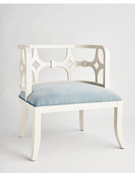 SARITA FRETWORK CHAIR IN PALE BLUE VELVET