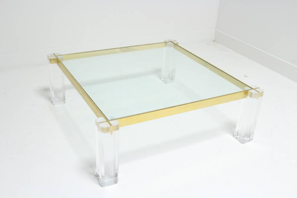lucite and brass coffee table - scout design studio