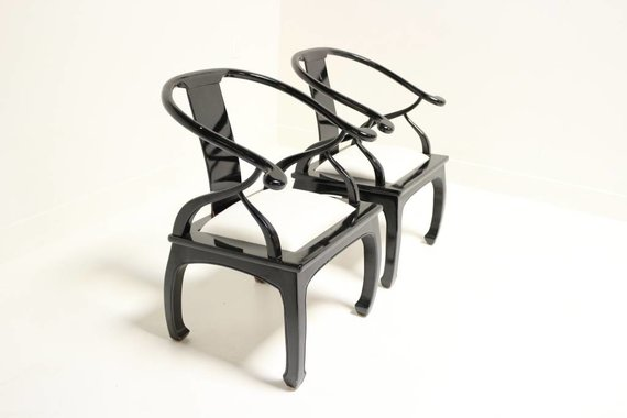 PAIR OF MING CHAIRS WITH WHITE UPHOLSTERY