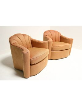 PAIR OF SWIVEL CHAIRS BY LARRY LASLO FOR DIRECTIONAL